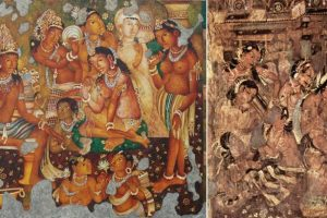 Images of the rock sculptures and restored paintings of the Ajanta Caves . Image Courtesy - South Asia Monitor