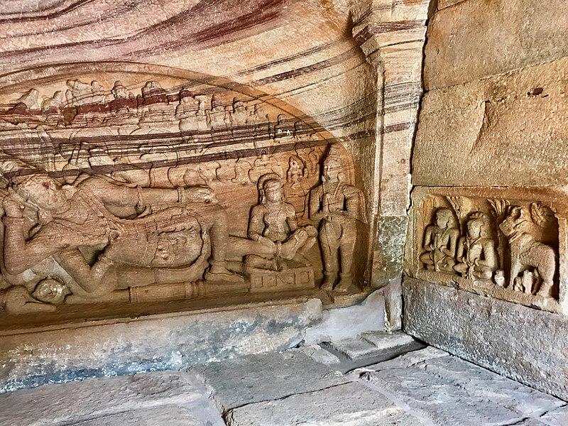 A small cave rock carving of Anantashayana Vishnu